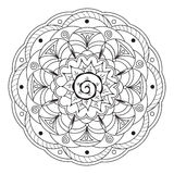 Mandala with hand drawn elements. Hand drawn decorated mandala  on white. Boho style. Image for adult and children coloring books, pages, tattoo, decorate dishes Royalty Free Stock Photography