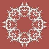 Mandala of heart shapes with dots royalty free stock image