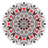 Mandala with hearts for Valentine's Day. Royalty Free Stock Images