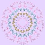 mandala Helle Schmetterlinge im Kreis Regenbogen und Wolke auf dem blauen Himmel Stockbild