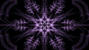 Mandala hexagonal púrpura viva del fractal, túnel video en fondo negro Modelos simétricos animados para el espiritual y stock de ilustración