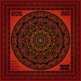 Mandala Hindu symbol and Lace pattern frame Stock Photography