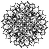 Mandala, in hohem Grade ausführliche Illustration, ethnisches Stammes- Tätowierungsmotiv, Schwarzweiss Stockfotos