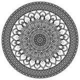 Mandala, in hohem Grade ausführliche Illustration, ethnisches Stammes- Tätowierungsmotiv, Schwarzweiss Stockbilder
