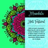 Mandala Holi de vecteur Design de carte heureux de salutation de festival de Holi avec le mandala Illustration orientale de modèl Photographie stock libre de droits