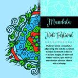 Mandala Holi de vecteur Design de carte heureux de salutation de festival de Holi avec le mandala Illustration orientale de modèl illustration de vecteur
