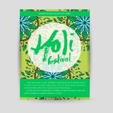 Mandala Holi de vecteur Design de carte heureux de salutation de festival de Holi avec le mandala Modèle oriental, illustration L Photographie stock libre de droits