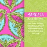 Mandala Holi de vecteur Design de carte heureux de salutation de festival de Holi avec le mandala Modèle oriental, illustration d Photos stock
