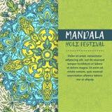Mandala Holi de vecteur Design de carte heureux de salutation de festival de Holi avec le mandala Modèle oriental, illustration L Image stock