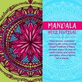 Mandala Holi de vecteur Design de carte heureux de salutation de festival de Holi avec le mandala Modèle oriental, illustration L Photo libre de droits