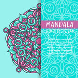 Mandala Holi de vecteur Design de carte heureux de salutation de festival de Holi avec le mandala Modèle oriental, illustration L Images libres de droits