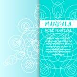 Mandala Holi de vecteur Design de carte heureux de salutation de festival de Holi avec le mandala Modèle oriental, illustration L Image libre de droits