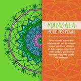 Mandala Holi de vecteur Design de carte heureux de salutation de festival de Holi avec le mandala Modèle oriental, illustration L Photos stock