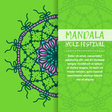 Mandala Holi de vecteur Design de carte heureux de salutation de festival de Holi avec le mandala Modèle oriental, illustration L Photo stock