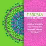 Mandala Holi de vecteur Design de carte heureux de salutation de festival de Holi avec le mandala Modèle oriental, illustration L Photographie stock