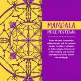 Mandala Holi de vecteur Design de carte heureux de salutation de festival de Holi avec le mandala Modèle oriental, illustration L Photos libres de droits