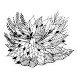 Mandala ikony symbolu logo, kwitnie kwiecistego liść, wektorowa ręka rysująca Fotografia Stock