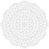 Mandala illustration. Circular intricate pattern. Lace circle design template. Abstract geometric mono line background Royalty Free Stock Photography