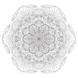 Mandala illustration. Round ornament pattern. Black lines white background. stock images