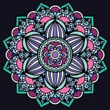 Bright mandala on dark background. Mandala Illustration. Round Ornament Pattern.nVintage decorative Stock Photography