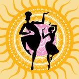 Mandala. Indian dancers silhouettes. royalty free illustration