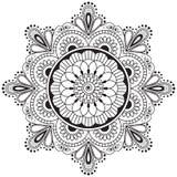 Mandala indiana da flor do elemento da hena de Mehndi para o tatoo ou o cartão Imagem de Stock