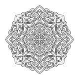 Mandala indiana nera su fondo bianco Disegno decorativo del fiore per il libro da colorare di meditazione Progettazione floreale  royalty illustrazione gratis