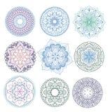 mandala Inställda blom- mandalas för färgläggningdiagram för bok färgrik illustration översikt modell Vävdesignbeståndsdel Arkivbild
