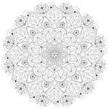 Mandala Intricate Patterns Black and White Good Mood. vector illustration