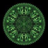 Mandala intrincada de Marijiana do cannabis Imagem de Stock
