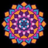 Mandala Jaskrawa pomarańcze, purpura, menchie, Błękitne na Czarnym Orientalnym ornamencie royalty ilustracja