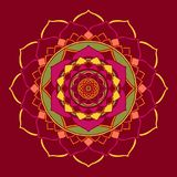 Mandala Jester Red Oriental Ornament stock illustration