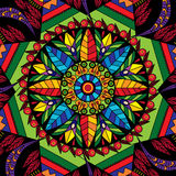 Mandala kółkowy dekoracyjny ornament z kwiatami i liście w etnicznym stylowym druku deseniujemy ilustrację Obraz Royalty Free