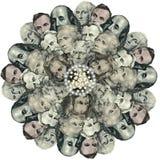 Mandala kaleidoscope of elements american dollar. Abstract money background raster pattern repeat mandala circle royalty free stock image