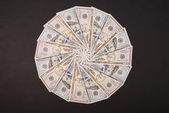 Mandala kalejdoskop od pieniądze Abstrakcjonistyczny pieniądze tła raster wzoru powtórki mandala okrąg obrazy royalty free