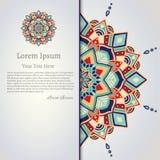Mandala-Kartendesign des Vektors dekoratives Stockfotografie