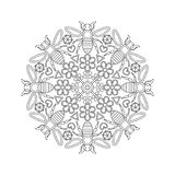 Mandala for kids with bees. Royalty Free Stock Image