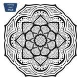 mandala Kleurende boekpagina's Indisch antistressmedaillon Abstracte Islamitische bloem, Arabisch hennaontwerp, yogasymbool stock fotografie