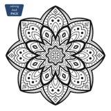 mandala Kleurende boekpagina's Indisch antistressmedaillon Abstracte Islamitische bloem, Arabisch hennaontwerp, yogasymbool stock afbeeldingen