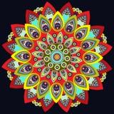 Mandala kolorowy Wschód, etniczny projekt, orientalny wzór, round ornament Dla use w tkanina wystroju, druk, tatuaż, fretwork, br Zdjęcia Royalty Free