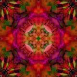 MANDALA kwiatu art deco Z CZTERY płatków kwiatem W centrum, kolor fuksji, purpurach, oliwce I rewolucjonistce W tle, ilustracja wektor