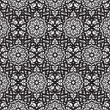 Mandala lace dense black seamless pattern. Mandala lace dense black seamless vector pattern. Abstract openwork surface background Stock Image