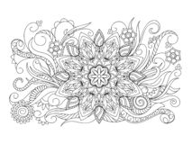 Mandala with leaves, herb, leaves and flowers vector illustration