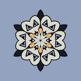 Mandala on light blue gray background. Vintage Stock Image