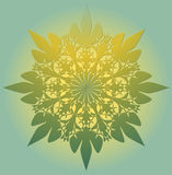 Mandala in light green color with yellow light - a symbol of spiritual enlightenment. Symmetric geometric lace patterns. Concentri Stock Photography