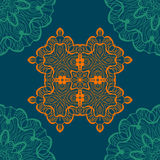 Mandala-like open-work seamless texture. Hand-drawn new-age round lace pattern. Abstract vector tribal ethnic yoga Royalty Free Stock Photos