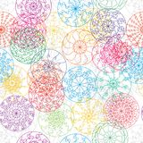 Mandala line ray colorful seamless pattern Royalty Free Stock Photo