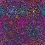 Mandala line ray colorful symmetry seamless pattern Stock Images