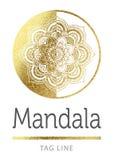 Mandala logo. In bright gold vector illustration