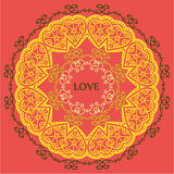 Mandala of love relaxation and meditation, ethnic patterns, gree Stock Photo